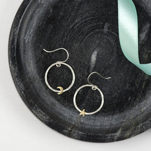 Star and Moon Drop Earrings
