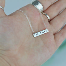 Load image into Gallery viewer, Mini Date Silver Bar Necklace