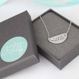 Sterling Silver Personalised Semi Circle Necklace.