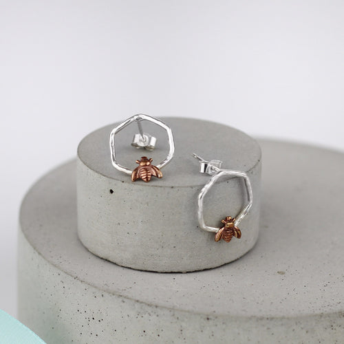 Silver Bee Studs, Bee Jewellery, Brass Bee Earrings