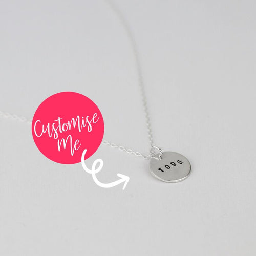 Silver Birth Year Disc Necklace