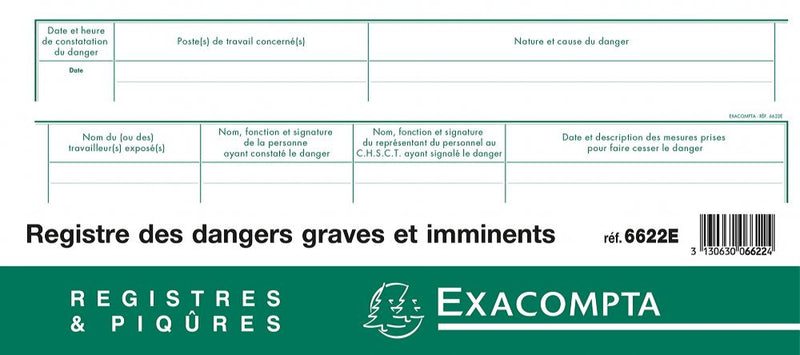 Registre des dangers graves et imminents EXACOMPTA ® 5