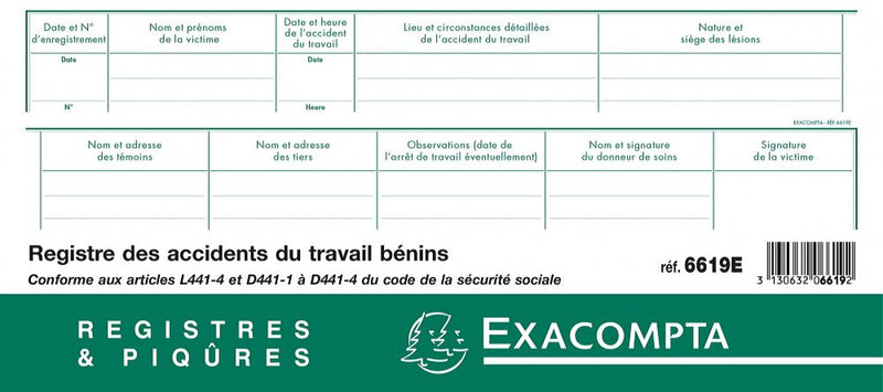Registre des accidents du travail EXACOMPTA ® 1