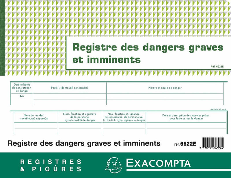 Registre des dangers graves et imminents EXACOMPTA ® 3