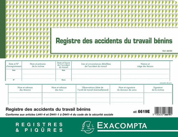 Registre des accidents du travail EXACOMPTA ® 2