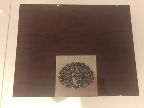 Wood Cigar Humidor With sterling silver Half Face Half Head Embellishment