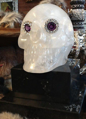 Quartz Skull Head on a Double Marble Base: The Secret