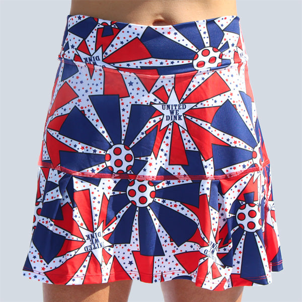 UNITED WE DINK DROP-PLEAT SKORT