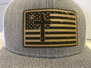 Leather Cross & Flag Patch Hat