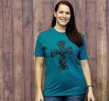 Load image into Gallery viewer, Floral Cross Graphic Tee