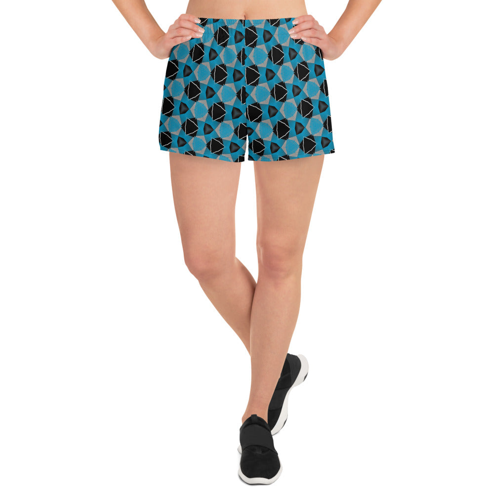 """Blue Tessellation"" Pattern Women's Athletic Short Shorts - beARTified"