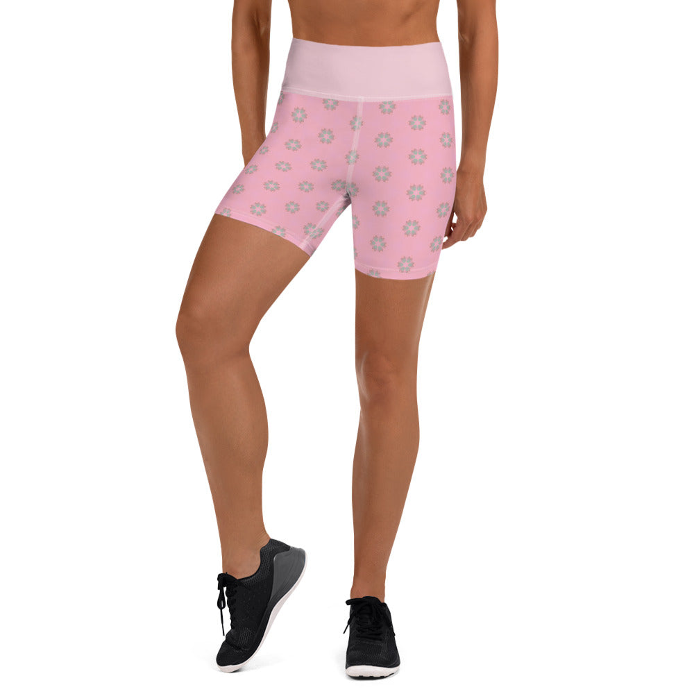 """Carmine"" Pattern Yoga Shorts - beARTified"
