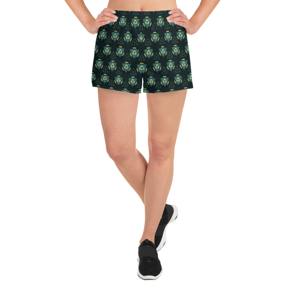 """Fortress"" Pattern Women's Athletic Short Shorts - beARTified"