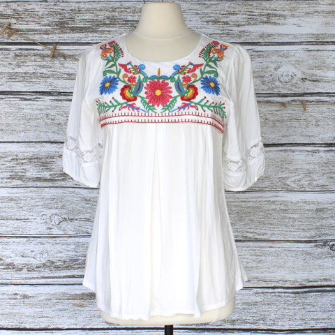 Lilith Embroidered Peasant Top