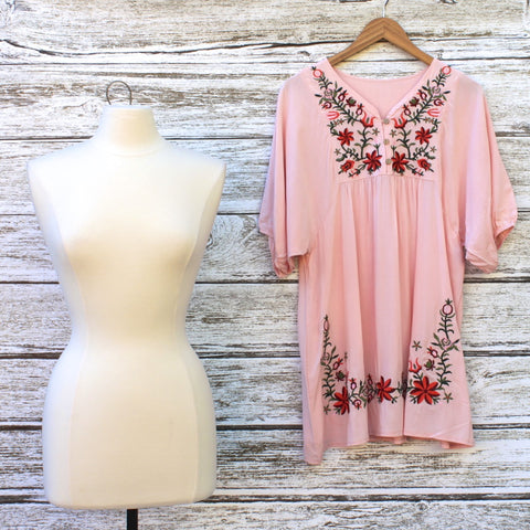 Eden Embroidered Tunic/Dress :: Rose