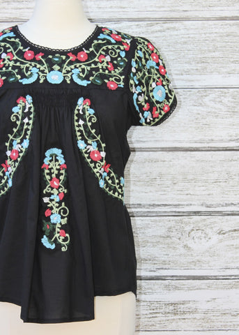 Cortez Floral Top :: Black