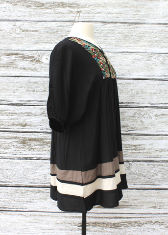 Elsie Embroidered Dress/Tunic ::  Black
