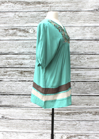 Elsie Embroidered Dress/Tunic :: Turquoise