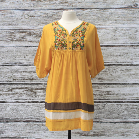 Elsie Embroidered Dress/Tunic ::  Merigold