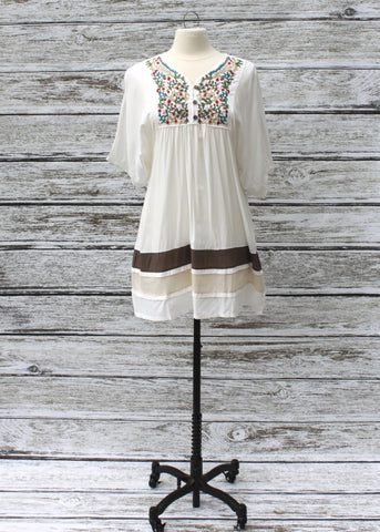 Elsie Embroidered Dress/Tunic :: Cream