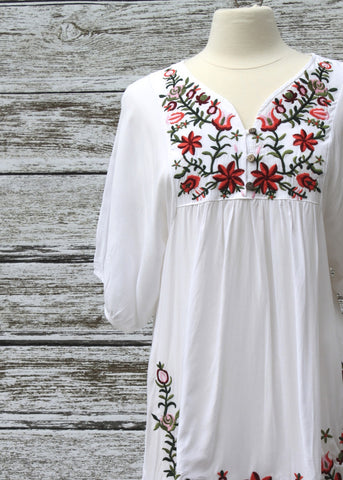 Eden Embroidered Tunic/Dress :: Ivory
