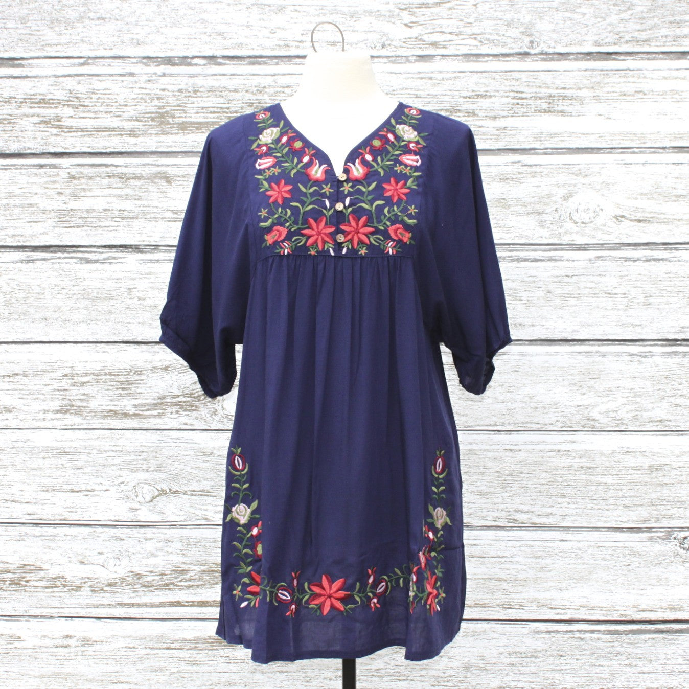 Eden Embroidered Tunic Dress    Navy
