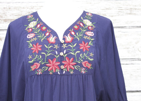 Eden Embroidered Tunic/Dress :: Navy