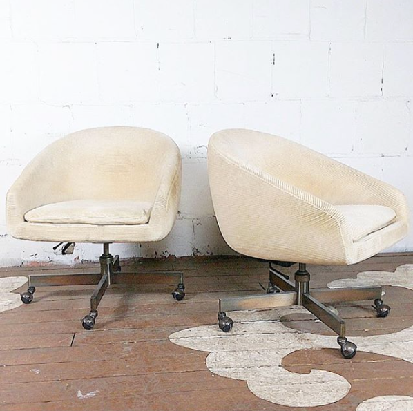 Rare George Kasparian Chairs On Casters