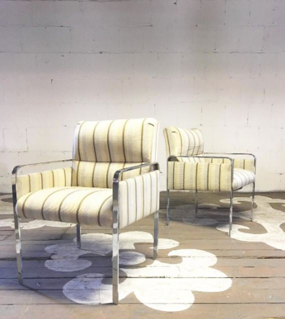 Mid-Century Chromed Steel Armchairs