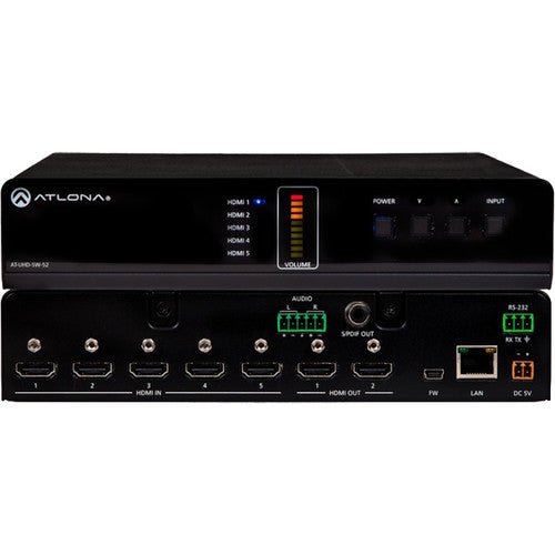 Atlona® AT-UHD-SW-52 4K/UHD 5 Input HDMI Switcher - Mirrored HDMI Outputs