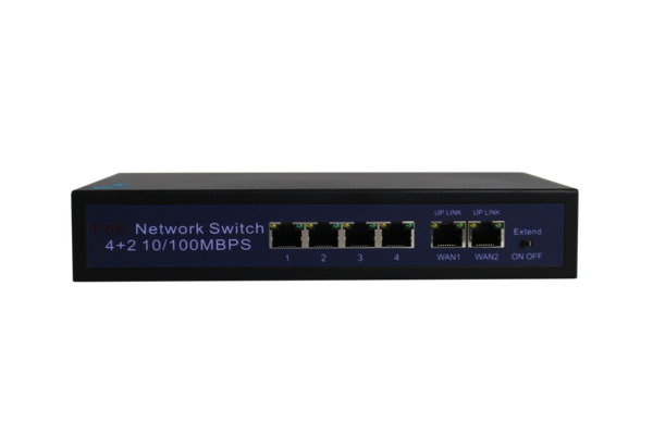 Silarius SIL-SW4POE 6 Ports POE switch with 4/100MB ports and 2/100MB Ports uplinks - 60W POE