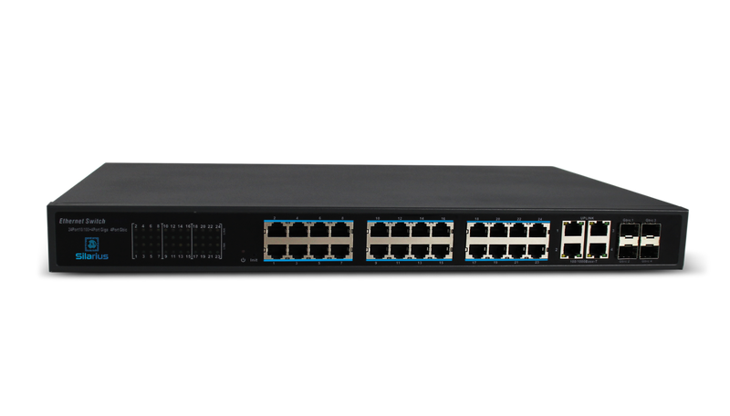 Silarius SIL-SW24POE 28 Ports POE switch with 24/100MB Ports PoE+, 4 Gigabit Uplinks, and 4 SFP Slots Uplink - 370W POE