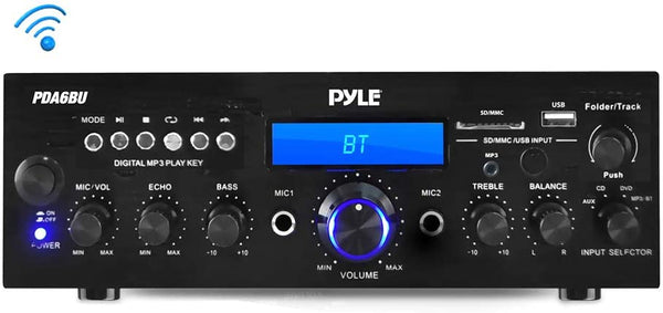 Pyle PDA6BU 200-Watt Bluetooth® Stereo Amp Receiver with USB & SD™ Card Readers