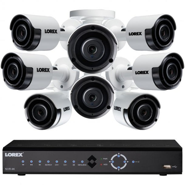 Lorex LNK72163T85B 16-Channel 4K 3TB NVR with Eight 5.0-Megapixel Color Night Vision Indoor/Outdoor Security Cameras