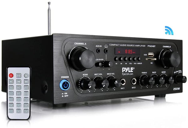 Pyle PTA24BT 250-Watt Compact Bluetooth® Audio Stereo Receiver with FM Radio