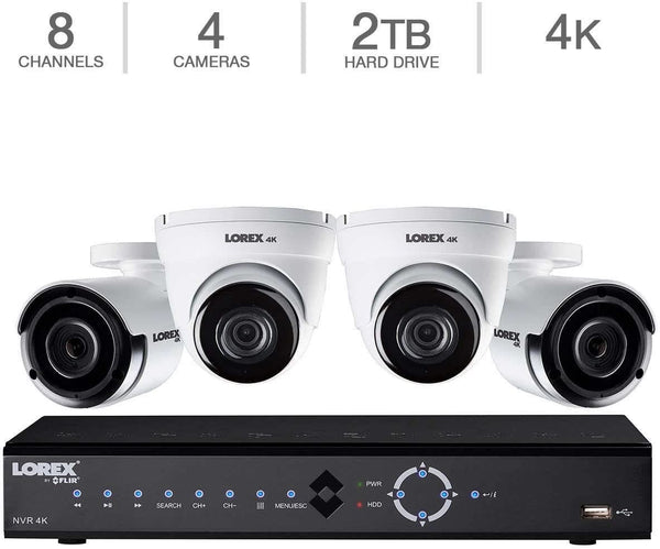 Lorex LNK782C2D2KB 4K Ultra HD 8-Channel PoE IP NVR Security Camera System with Four 4K IP Cameras