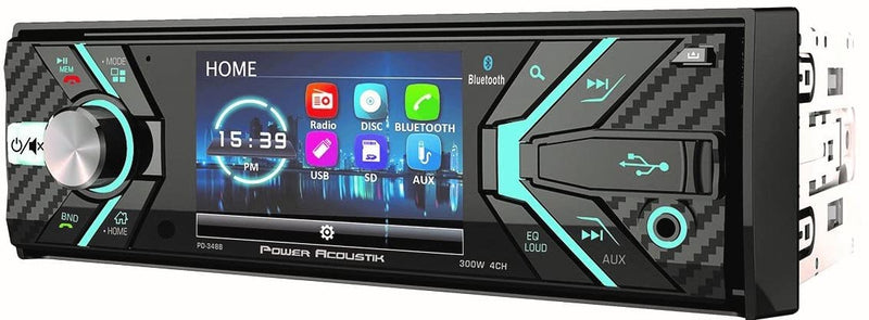 "Power Acoustik PD-348B 3.4"" Incite Single-DIN In-Dash Detachable LCD Touchscreen DVD Receiver with Bluetooth®"