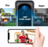 Silarius SIL-DOORBELL2MPBSDB 2MP, WiFi Battery Powered Smart Doorbell Camera + Chime (Outdoor IP65), Cloudedge app,  Include 16G SD Card , w/ one extra pair of 18650 Battery