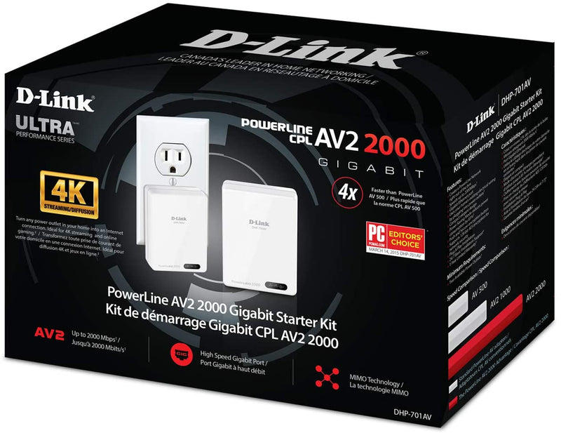 D-Link Powerline Adapter Starter Kit Ethernet Over Power Gigabit AV2 Up to 2000Mbps MIMO Internet Network Wall Plug In (DHP-701AV)