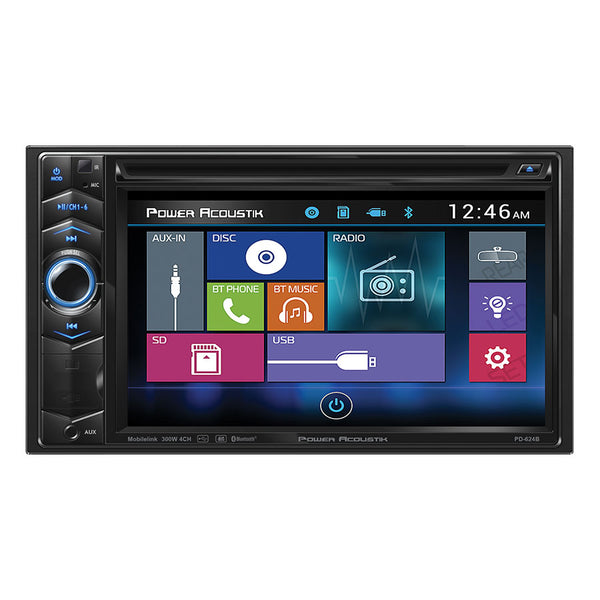 "Power Acoustik PD-624B 6.2"" Double-DIN LCD Touchscreen DVD Receiver w/ BL"