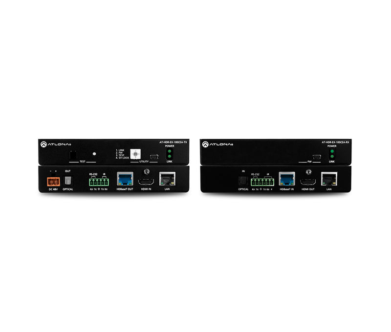 Atlona® AT-HDR-EX-100CEA-KIT 4K HDR HDMI HDBaseT TX/RX with Ethernet, Control, PoE, and Return Audio