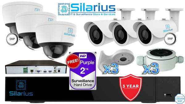 Silarius Essential NVR System Kit - Professional+ Grade - 36CH AI NVR Face Recognition and Comparison + (3) 5MP Dome Cameras + (3) 5MP Bullet Cameras + Brackets and FREE WD 2TB HDD
