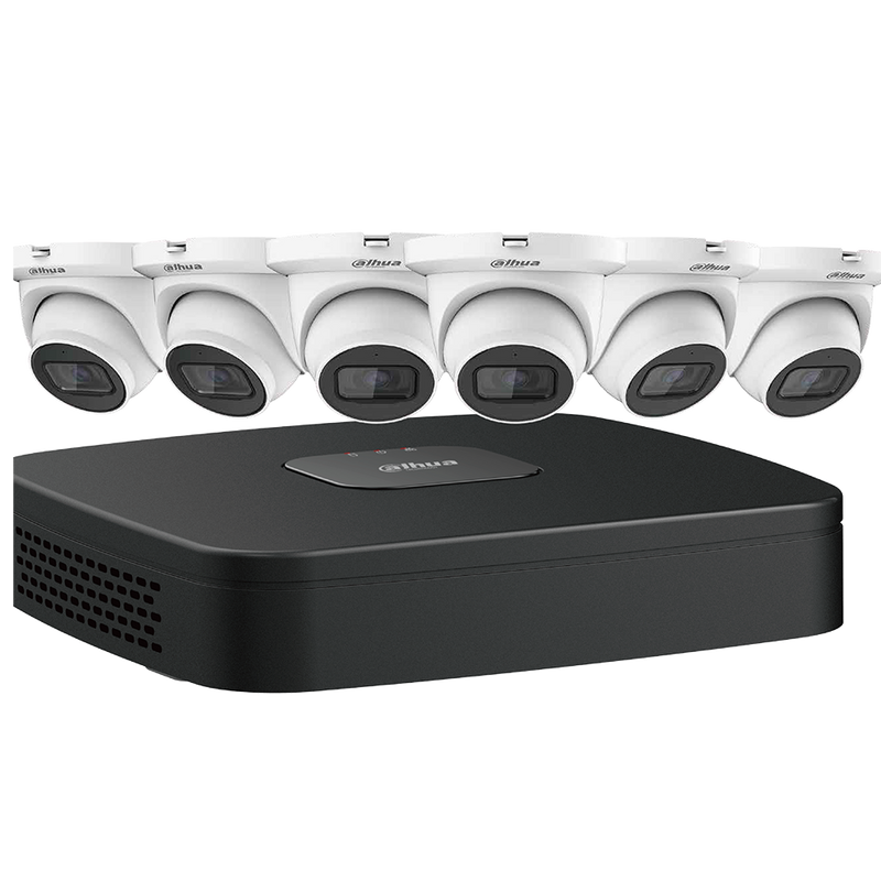 Dahua N484E62S 4MP Starlight Network Security System Six (6) 4 MP Eyeball Network Cameras with One (1) 8-channel 4K NVR
