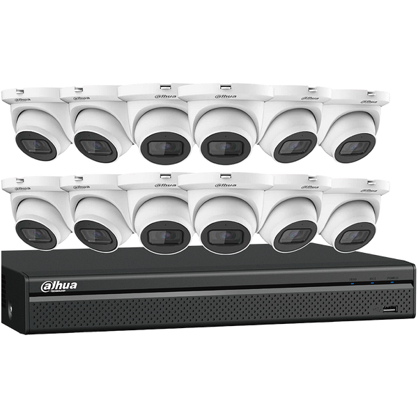 Dahua N564E124S 4MP Starlight Network Security System 12 x 4 MP Eyeball Network Cameras with One (1) 16-channel 4K NVR