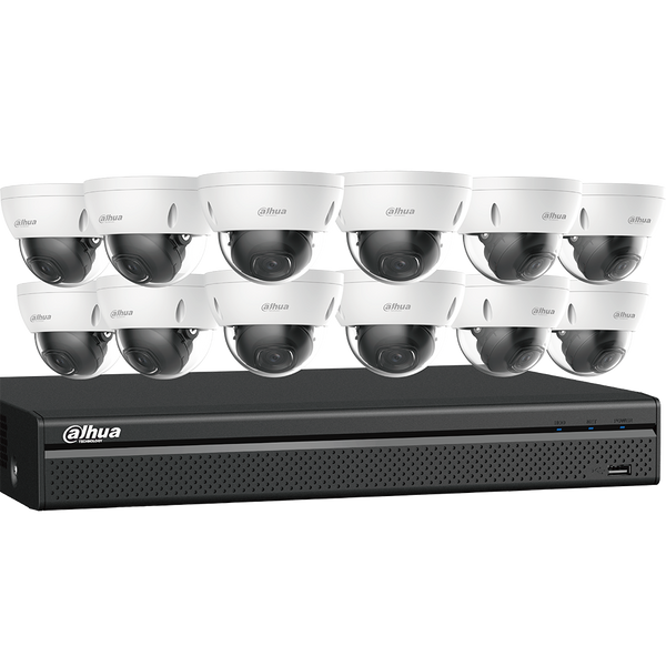 Dahua N568D124S 4K Starlight Network Security System 12 4K Dome Network Cameras with One (1) 16-channel 4K NVR