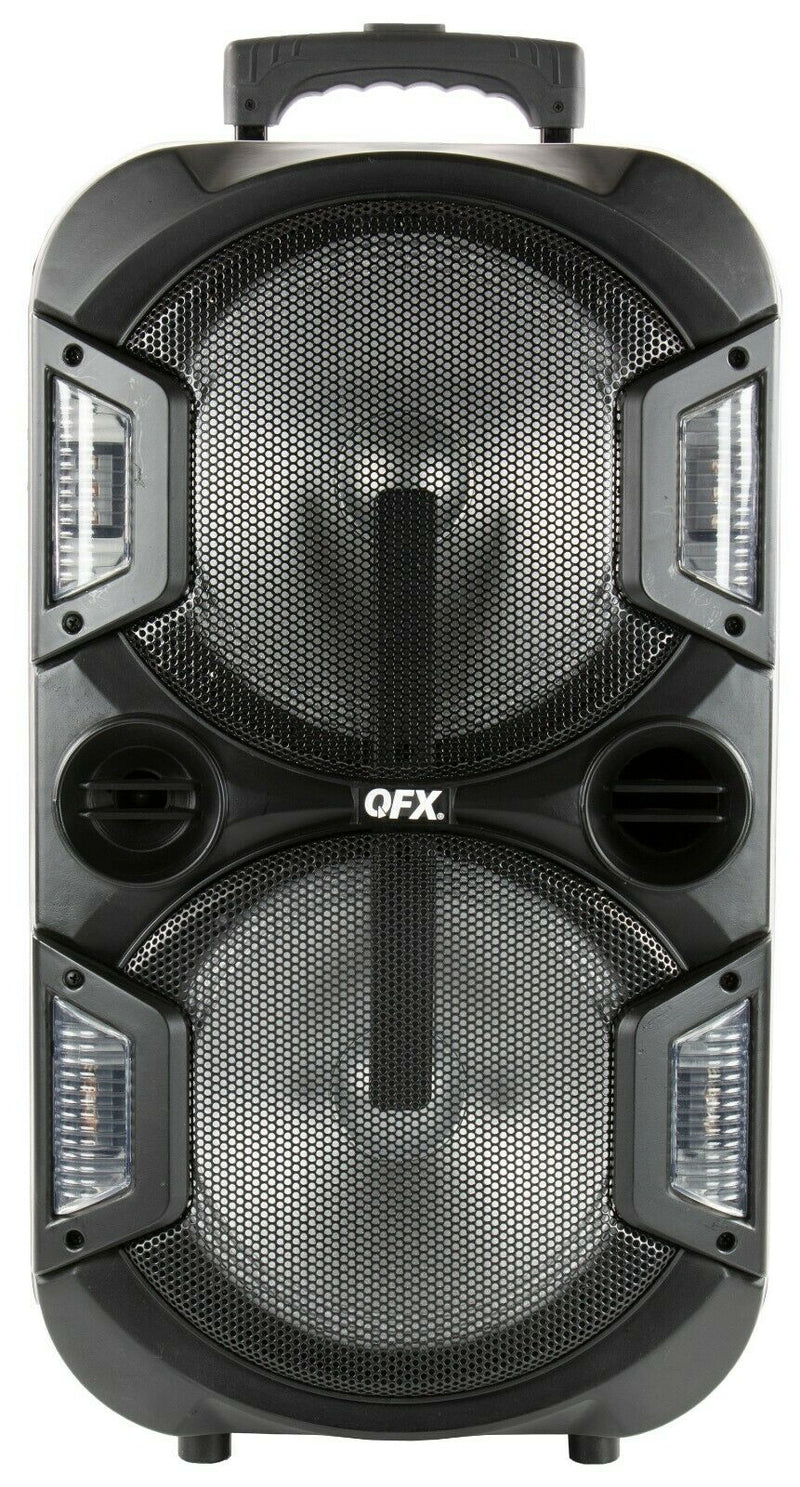 "QFX PBX-210 2 x 10"" Rechargeable Party Speaker +Bluetooth +USB/SD/FM/LED +Mic"