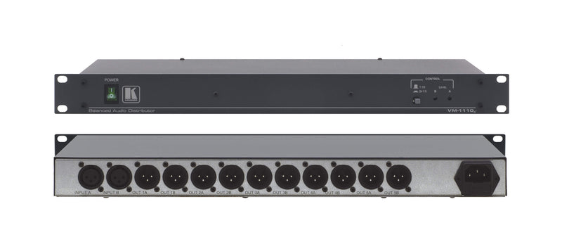 Kramer VM-1110XL Balanced Audio Distribution Amplifier - 1x10 Mono, 1x5 Stereo, XLR Connectors, Rackmountable