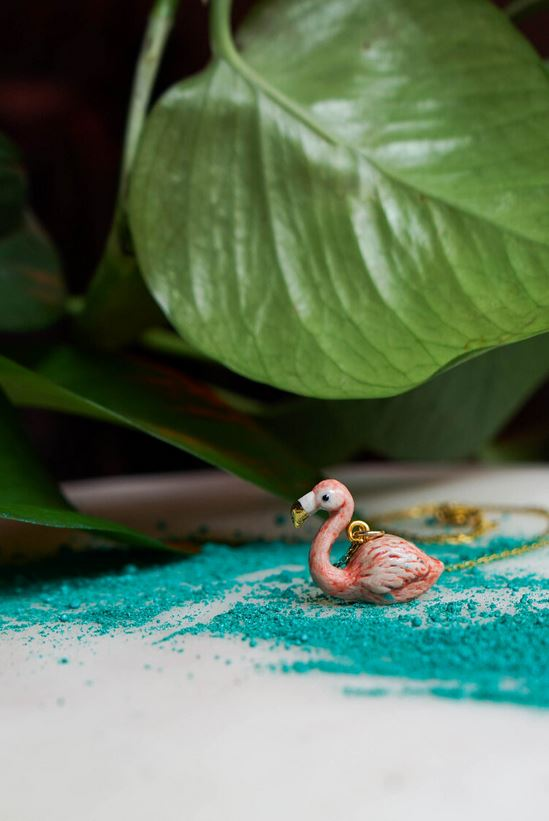 CERAMIC FLAMINGO NECKLACE