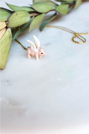 CERAMIC FLYING PIGS NECKLACE