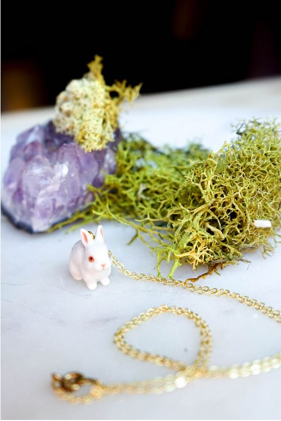 CERAMIC BUNNY TIME NECKLACE